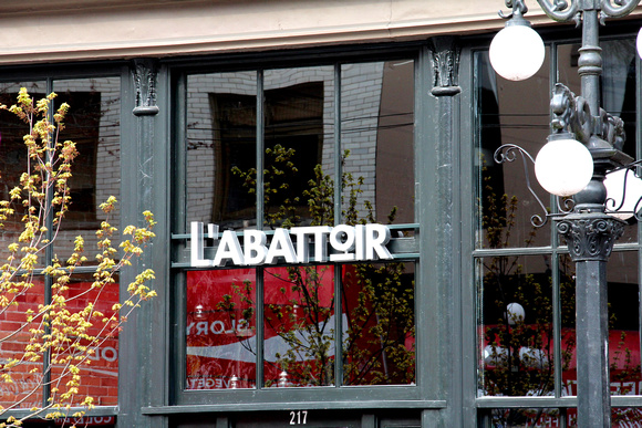 The L'Abbattoir store front sign