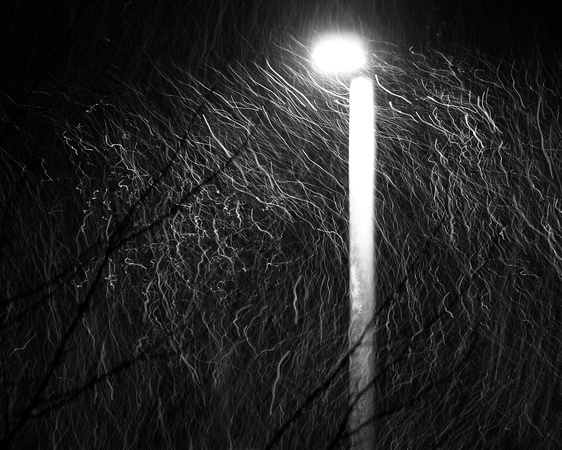 lamp post, snow, black & white, monochrome, long exposure, weather, winter