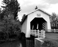 Hoffman Covered Bridge road black and white