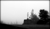 cemetery, oregon, mother mary, statue, fog, black, white