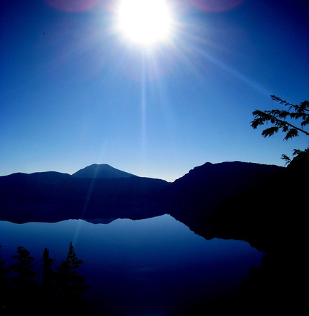 Crater Lake Oregon stylized art morning sun