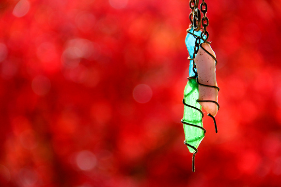 ornaments, red, japanese maple, glass, wire
