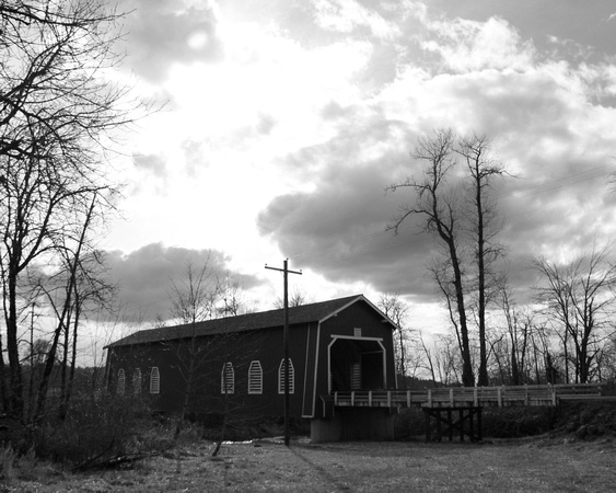 Thomas Creek (Shimanek) Covered Bridge - Black & White