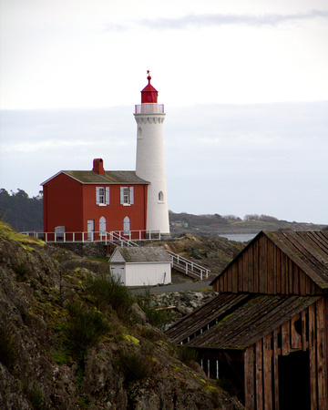 lighthouse, coast, pacific northwest, fisgard, boat house, fort,